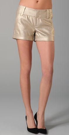 Alice + Olivia Cady cuff metallic shorts aka New Year's in the Bahamas - $195.00