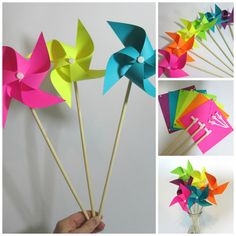 Projects For Kids, Diy For Kids, Gifts For Kids, Diy Pinwheel, Diy And Crafts, Paper Crafts, Rainbow Balloons, Rainbow Crafts, Origami Art
