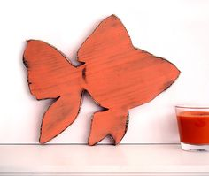 Goldfish (Pictured in Coral) Pine Wood Sign Wall Decor Rustic Americana French Country Chic
