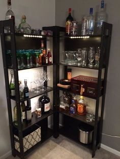 8 Creative Minibar Ideas for Your Home - Home Like Art Diy Home Bar, Home Bar Decor, Bar Cart Decor, Ikea Bar Cart, Diy Bar Cart, In Home Bar Ideas, Kitchen Decor, Diy Kitchen, Kitchen Dining