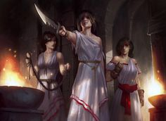 The Triad. An archaic system of justice in Aekithyeron, the Triad are an all female cult that worships Nerys, the human goddess of justice, vengeance, retribution and fate. They form judge, jury and executioner in all trials within the city walls.