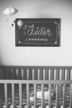 - great! now I am thinking I can use that cork board, add chalk scrapbooking paper and frame this idea!!**      Fletcher's cozy modern nursery | Melissa Audrey | 100 Layer Cakelet