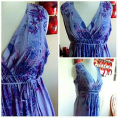 Pretty Lavender Maxi  Size 14-18 Really pretty maxi in lavender with fuschia & purple flowers that I purchased from a boutique. Excellent like new condition worn once. Ties in either the front or back. Great quality material. Fits 14-18 best I think. 43 39W 54L Boutique Dresses Maxi