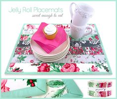 "Jelly Roll Strip Placemats | Sew4Home Supplies shown are for ONE placemat SEVEN Jelly Roll Strips per placemat; we used Jelly Roll strips from the Billet-Doux collection by Verna Mosquera for FreeSpirit Fabrics NOTE: If you want matching placemats, one Jelly Roll strip is normally 44"" long, so you could cut one strip into two 20"" lengths (the length needed for our design). ..."