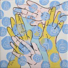 "eye motif, 16th day.  ""Cowbell wristbands:ASL CHANTS"" poem by Karen Kingrey"