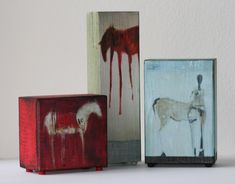I love these little encaustic wood blocks