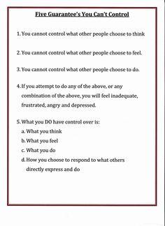 Lorinda-Character Education: Five Guarantee's of things You Can't Control