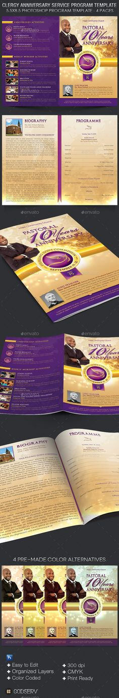 Clergy Anniversary Service Program Template #design Download: http://graphicriver.net/item/clergy-anniversary-service-program-template/11342272?ref=ksioks