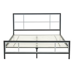 queen size modern platform metal bed frame with headboard footboard and wooden slats - Basic Metal Bed Frame