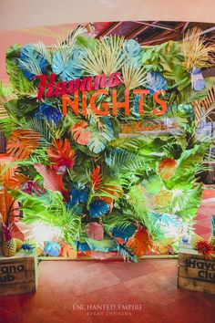 AWX Annual Christmas Party was definitely a hit with all the attendees. Guests were first treated by a stunning 'Havana Nights' media wall, complete with coloured foliage, created and assembled by our talented floral artisans, custom made signage by our i Cuban Party Theme, Havana Nights Party Theme, Luau Party, 21st Party, Havanna Nights Party, Havanna Party, Don Papa, Tropical Party Decorations, Christmas Party Themes