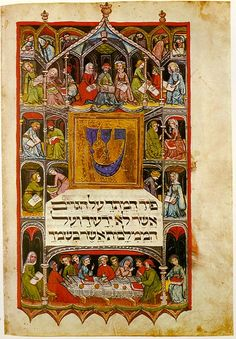 """lionofchaeronea: """"Illumination from a medieval Haggadah (text for the Passover Seder), surrounding the first words of Psalms (""""Pour out your wrath on the nations that do not acknowledge you, on. Cultura Judaica, Arte Judaica, Jewish History, Jewish Art, Ancient History, Medieval Manuscript, Medieval Art, Illuminated Letters, Illuminated Manuscript"""