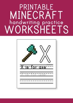 FREE Printable Minecraft Handwriting Practice Worksheets | Pepper Scraps