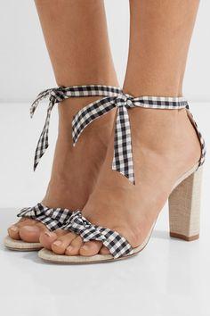 Alexandre Birman - Clarita Bow-embellished Gingham Cotton And Canvas Sandals - Black - IT36