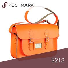 Like New the leather satchel company neon orange Used once neon satchel company crossbody satchel. Perfect condition long and short strap included The Cambridge Satchel Company Bags Satchels