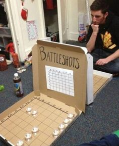 alcohol, creative, drinking, party I want to try this with the kids but replace alcohol with candy or dimes. (party drinks alcohol with candy) Battle Shots, Fun Games, Awesome Games, Entertaining, Cool Stuff, Awesome Things, How To Make, Pizza Boxes, Random