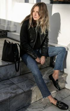 Lucy Williams + gorgeous loafer style + classic leather pair + frayed denim jeans + leather jacket + must-try + edgy loafer vibe!  Jacket: Sandro, Knit: Zoe Jordan, Jeans: Vintage Levis via Reformation, Shoes: Gucci, Bag: Mansur Gavriel.