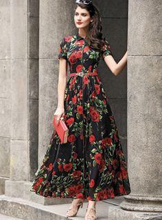 Chic Rose Print Lapel Waist Maxi Dress
