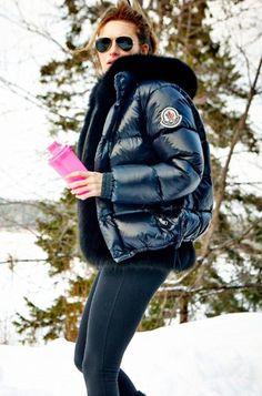 Carolina Gynning Puffed In Moncler over black fox vest
