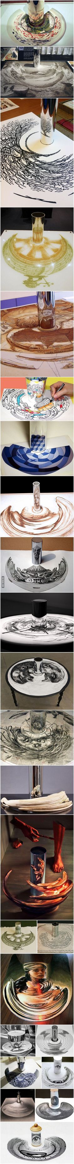 Anamorphic Artworks That Can Only Be Seen With A Cylinder