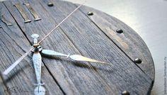 """Часы настенные с ручной росписью """"Лофт"""" - коричневый,лофт,брутальный Loft rustic decor artclock handmade clock wooden clock style design interior"""