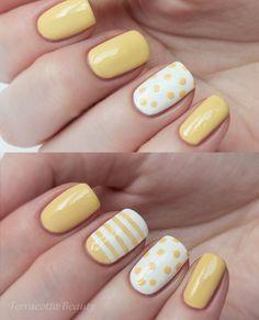 Summer yellow dots stripes nail design.