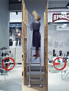 Retail design for Camper shoe store in Malmö by Note Design Studio featuring metal trolleys for easy to reconfigure display units. Note Design Studio, Notes Design, Commercial Design, Commercial Interiors, Camper Store, Retail Concepts, Commercial Architecture, Retail Interior, Retail Space