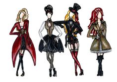 Fashion Sketches. Rococo theme mixed with punk and steampunk. working at school, SintLucas inspiration. #punk #steampunk #fusion