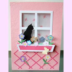Card with window box and black kitty    http://cats-cards-arts.diary.ru/