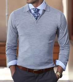 Grey long sleeve polo sweaters for men and guys Polo Outfit, Polo Shirt Outfits, Geek Outfit, Rock Outfits, Emo Outfits, Outfit Sets, Sport Outfits, Mens Fashion Sweaters, Mens Fashion Suits