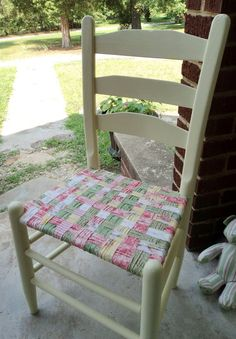 Antique wooden chairs with cane seats - Shabby Vintage Wood Ladder Back Chair With Woven Fabric Seat By