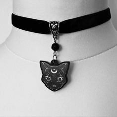 Gothic necklace, gothic jewellery, cat necklace, acrylic jewellery, gothic sale, gothic choker, cat choker, gothic gift, january sale, sale by MetalLiquor on Etsy