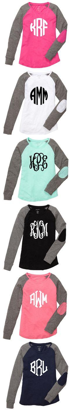 Monogrammed Lightweight Raglan Shirt | Marleylilly.com