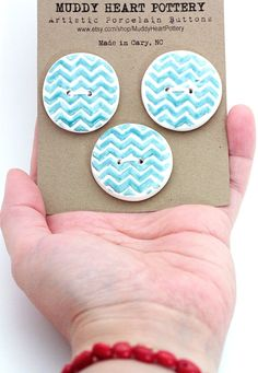 Chevron Porcelain Buttons HUGE In Blue and White Perfect For Your Knitting or Sewing Projects READY To SHIP
