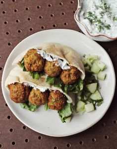 Homemade Falafel + Cucumber Dressing by A Beautiful Mess