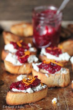 goat cheese chia cranberry crostini