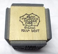 Paula Best rubber stamp cube Asian Influence collage 4 sided block dated 2000 #PaulaBest #FloralAsianlettering