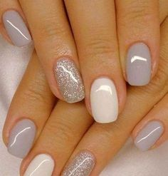 Fascinating white and gray nail polish to try - Nageldesign - Nail Art - Nagellack - Nail Polish - Nailart - Nails - Nägel Design Grey Gel Nails, Grey Nail Polish, Glitter Gel Nails, Nail Polish Colors, Acrylic Nails, Coffin Nails, Accent Nails, Gold Nail, Neutral Nails
