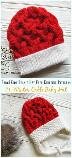 Winter Cable Baby Hat Knitting Free Pattern - Baby   Kids Beanie  Hat  Free 6ab1d5b0854