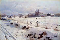 A Winter Landscape, Holonstrup  Peder Mork Monsted (1859-1941 Danish)  Oil on Canvas  Christie's, London