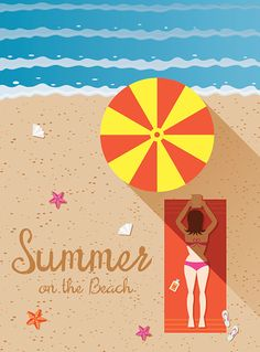 Vector Art : Summer : Woman with Bikini Sunbathe on the Beach