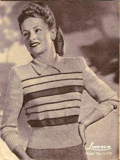 1940's striped wool jumper. #40s #knitting #pattern