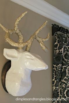 Dimples and Tangles: MEET MY NEW FRIEND {FAUX DEER HEAD}  DIY paper mache deer head antlers