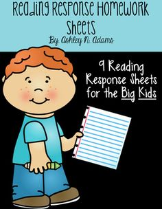Reading Response Homework Sheets: Rubric and Common Core Aligned
