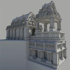 ArtStation - Combat Shrine wireframe, Edgar Martinez