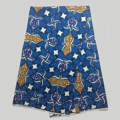 NAF-4 Fashion Ethnic Print Fabric Super Deluxe Wax Royal Blue 6yards Ethnic…