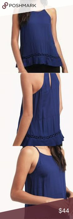 ELLA MOSS Stella Blue Tank M Stunning dark blue color with braided hem detail.  Key hole,  racerback.   Perfect condition... With once.   Size Medium Ella Moss Tops