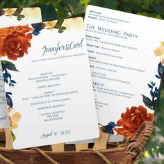 Fall Wedding Fan Program - DOWNLOAD Instantly - EDITABLE TEXT - Painted Autumn Bouquet (Navy & Orange) 5 x 7