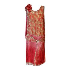 1920's B. Altman Couture Metallic-Gold & Pink Lame Ombre-Fringe Flapper Dress   From a collection of rare vintage evening dresses at https://www.1stdibs.com/fashion/clothing/evening-dresses/