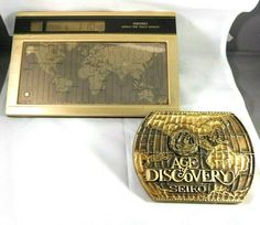"Seiko World Time Touch Sensor Desk Clock & Seiko ""Age of Discovery"" Paper Weight Mantle Clock, Desk Clock, Age Of Discovery, Wounded Warrior Project, Paper Weights, Seiko, Cool Watches, Decorative Boxes, Touch"