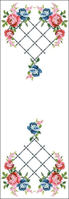 This Pin was discovered by Fat Cross Stitch Rose, Cross Stitch Borders, Cross Stitch Charts, Cross Stitch Patterns, Embroidery Patterns Free, Embroidery Stitches, Ribbon Work, Bargello, Needlework